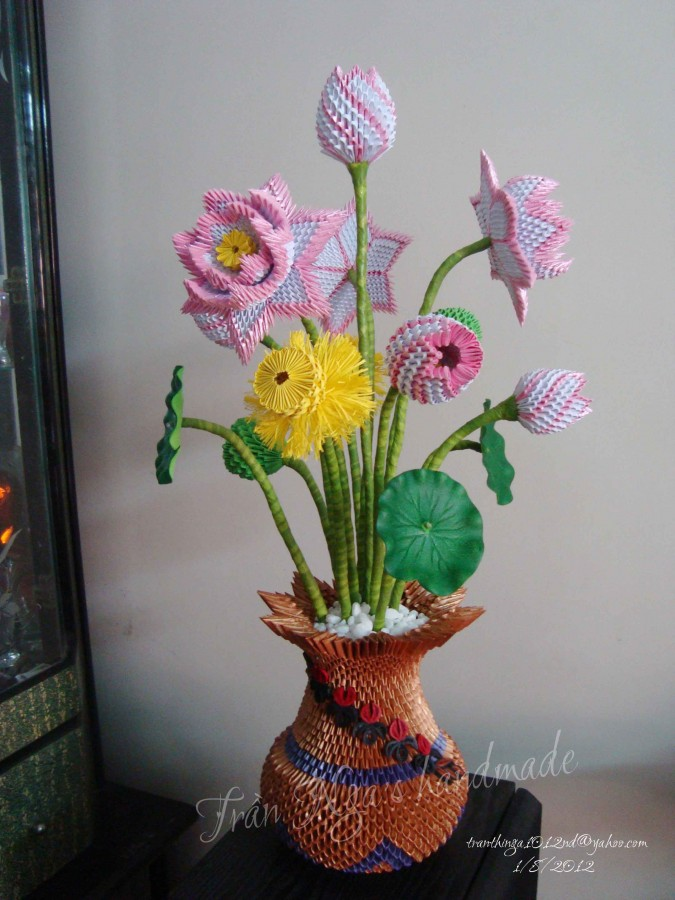 3d Origami Paper Flower Vase With Their Master Class Kotaksurat