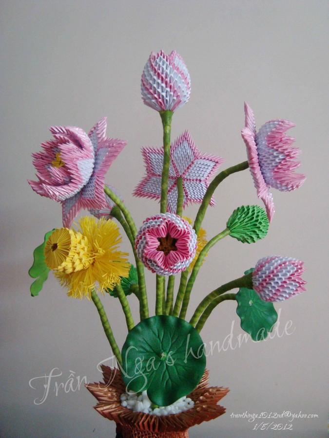 Handmade Paper Flower Vase || 3d Origami Flower Vase DIY || How to ... | 900x675