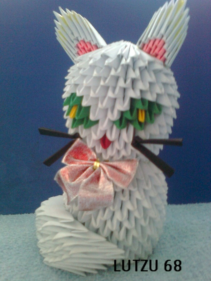 How To Make 3d Origami White Cat