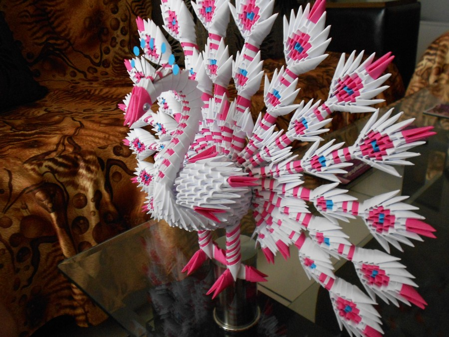 How To Make 3D Origami Peacock - crazzy crafting | 675x900