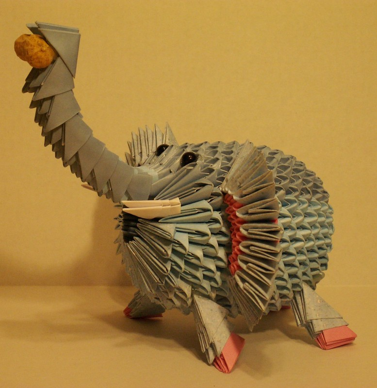 how to make 3d origami elephant step by step